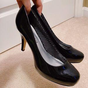 black gloss heels